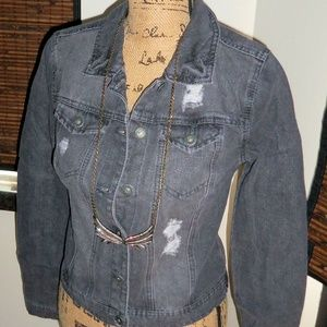 NWT Black Wash Destructed Denim Jean Jacket M